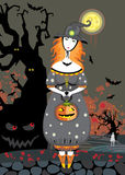Halloween Girl  Witch Cemetery Night Stock Photos