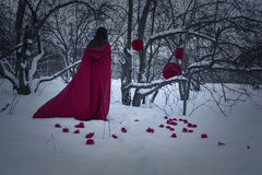 Halloween. Girl witch in red on the snow. Witchcraft. And magic. Photo for your design Stock Photo