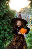 Halloween. The girl of 7-8 years represents the angry sorcerer. She is dressed in a dark dress and a hat and holds orange pumpkin lamp. The girl has an angry stock image