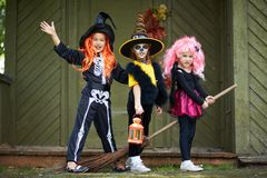 Halloween girls on broom Stock Images