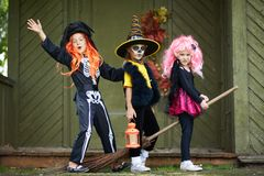 Halloween girls on broom Royalty Free Stock Photography