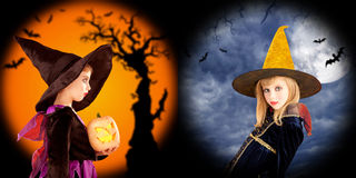 Halloween girls costumes in two backgrounds Royalty Free Stock Photos