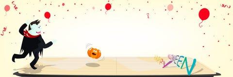 Halloween, glücklicher Feierparteifeiertag, Bowlingspielkonzept, Vampirsrollenkürbis spielerisch mit Konfettifall auf den Boden lizenzfreie abbildung
