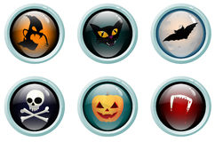 Halloween glass buttons. Glass buttons with Halloween symbols stock illustration