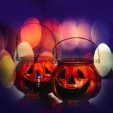 Halloween glass pumpkins Royalty Free Stock Photography