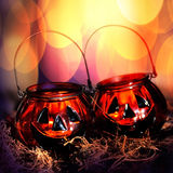 Halloween glass pumpkins Stock Photography