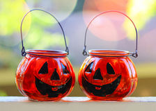 Halloween glass pumpkins Royalty Free Stock Image