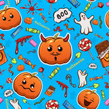 Halloween-glimlachenachtergrond met pompoenen Royalty-vrije Stock Foto's