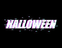 Halloween glitch effect. TV interference. Distorted style font.  Stock Photo