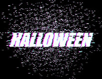 Halloween glitch effect. TV interference. Distorted style font.  Royalty Free Stock Photography