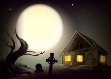 Halloween gloomy night landscape. Big full moon in sky.. Halloween gloomy night landscape. Big full moon in sky. House with glow windows, tree and cemetery Stock Images