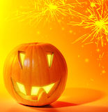 Halloween glowing pumpkin Stock Photography