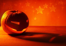 Halloween glowing pumpkin Stock Images