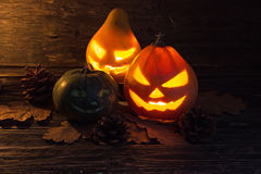 Halloween glowing pumpkin lantern Stock Photos