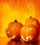 Halloween glowing pumpkins Royalty Free Stock Photo