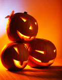 Halloween glowing pumpkins Stock Photo