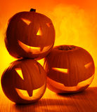 Halloween glowing pumpkins Royalty Free Stock Photos