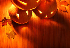 Halloween glowing pumpkins border Royalty Free Stock Photos