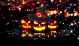 Halloween Glowing Pumpkins Night City Bokeh Background 3D. Digital Art Stock Images
