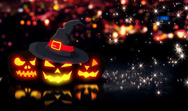 Halloween Glowing Three Pumpkins Night City Bokeh Background 3D Stock Images