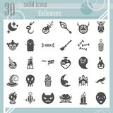 Halloween glyph icon set, horror symbols collection, vector sketches, logo illustrations, creepy signs solid pictograms. Package isolated on white background stock illustration