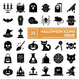 Halloween glyph icon set, spooky symbols collection, vector sketches, logo illustrations, scary signs solid pictograms. Package isolated on white background royalty free illustration