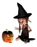 Halloween Goblin Witch with Pumpkin Lantern Royalty Free Stock Images