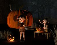 Halloween Goblins with Pumpkin House Royalty Free Stock Images