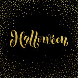 Halloween gold glitter spooky lettering greeting. Halloween party spooky gold glitter calligraphic lettering greeting card. Vector hand drawn golden calligraphy Stock Photography