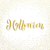 Halloween gold glitter spooky lettering greeting. Halloween party spooky gold glitter calligraphic lettering greeting card. Vector hand drawn golden calligraphy Royalty Free Stock Images