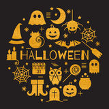 Halloween gold icons set in circle shape Royalty Free Stock Photo
