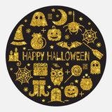 Halloween gold icons set in circle shape Royalty Free Stock Photos