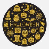 Halloween gold icons set in circle shape Stock Image