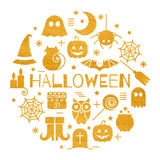 Halloween gold icons set in circle shape Royalty Free Stock Photography