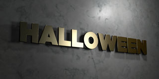 Halloween - Gold text on black background - 3D rendered royalty free stock picture Royalty Free Stock Images