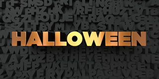 Halloween - Gold text on black background - 3D rendered royalty free stock picture Stock Photo