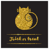 Halloween gold textured cat icon. On black background. Golden design element for festive banner, greeting and invitation card, flyer, tag, poster, postcard Royalty Free Stock Photography
