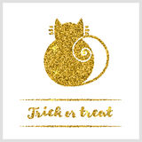Halloween gold textured cat icon. On white background. Golden design element for festive banner, greeting and invitation card, flyer, tag, poster, postcard Royalty Free Stock Photo