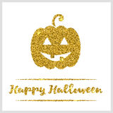Halloween gold textured pumpkin icon. On white background. Golden design element for festive banner, greeting and invitation card, flyer, tag, poster, postcard Royalty Free Stock Images