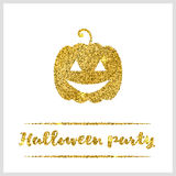 Halloween gold textured pumpkin icon. On white background. Golden design element for festive banner, greeting and invitation card, flyer, tag, poster, postcard Stock Images
