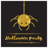 Halloween gold textured spider icon Royalty Free Stock Photos