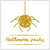 Halloween gold textured spider icon Royalty Free Stock Images