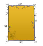 Halloween Goth Checkerboard Frame. Whimsical checkerboard Halloween frame with thorny curlicues and spiders Stock Image