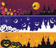 Halloween Gothic banners. Three Halloween banners with gothic town stock illustration