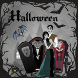 Halloween gothic party with vampire couple, fun background for horror invitation on vamp cosplay, dracula teeth and Royalty Free Stock Photography