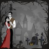Halloween gothic party with vampire couple, fun background for horror invitation on vamp cosplay, dracula teeth and Stock Photography