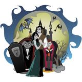 Halloween gothic party with vampire couple, fun background for horror invitation on vamp cosplay, dracula teeth and Royalty Free Stock Images