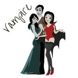 Halloween gothic party with vampire couple, fun background for horror invitation on vamp cosplay, dracula teeth and Stock Photo