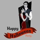 Halloween gothic party with vampire couple, fun background for horror invitation on vamp cosplay, dracula teeth and Stock Images