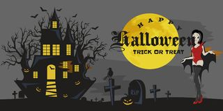Halloween gothic party with vampire girl, fun background for horror invitation  Stock Photo